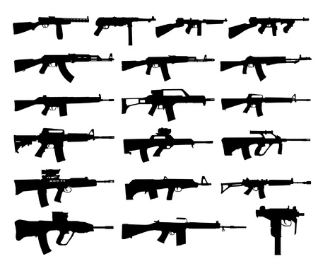 assault rifle: Guns silhouettes Illustration