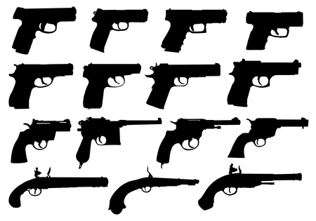 Set of pistols silhouettes Vector