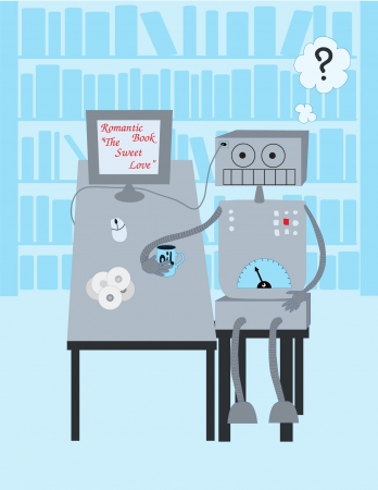 Robot reads a book Stock Vector - 20284517