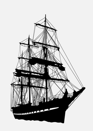 ancient ships: Detailed silhouette of old ship