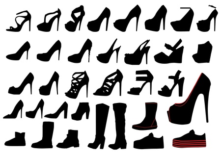 high heel shoes: Set of woman shoe silhouettes