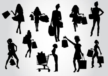 silhouette femme: Femme d'achats silhouettes