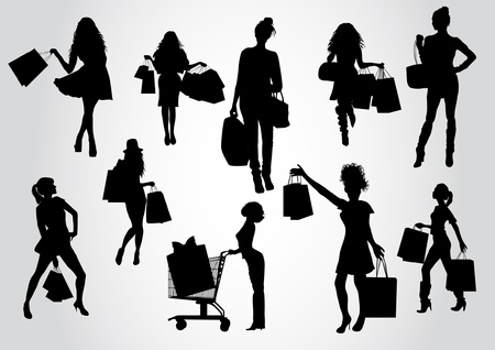 woman shadow: Woman shopping silhouettes
