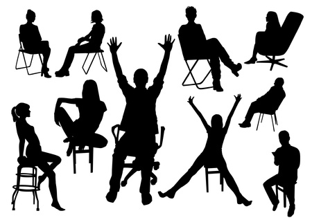 stools: Set of sitting people silhouettes