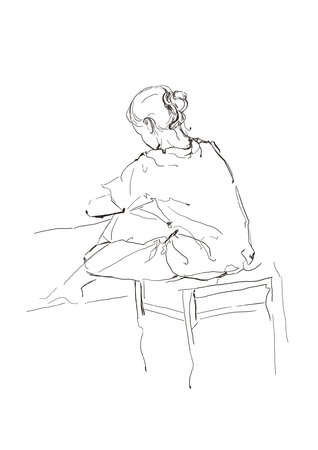 woman back of head: Sketch of a sitting girl