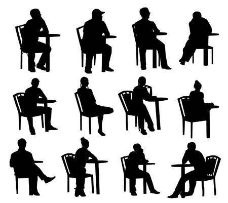 sitting at table: Sitting silhouettes