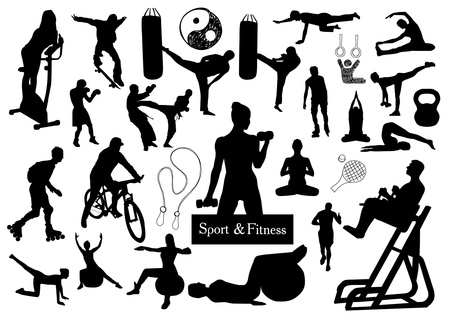 workout gym: Sport and fitness silhouettes Illustration