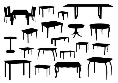 black and white image: Set of table silhouettes