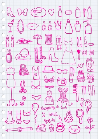fetishes: Woman Accessories on paper background