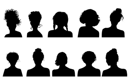 female silhouette: Women heads silhouettes Illustration