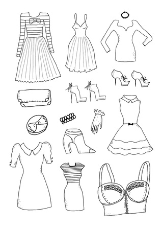 Women fashion clothes and accessories Stock Vector - 20284564