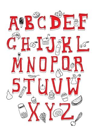 ice alphabet: Alphabet and food objects