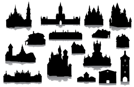 castle silhouette: Set of buildings silhouettes Illustration
