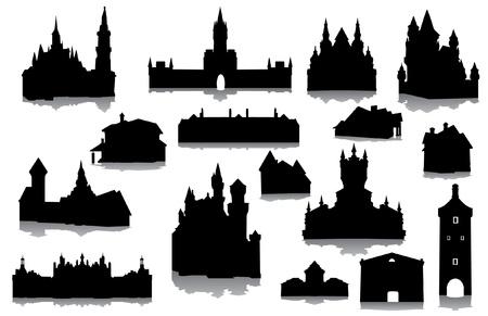 stein schwarz: Set von Geb�uden Silhouetten