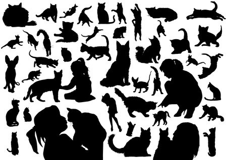 Cats silhouettes Stock Vector - 20674765