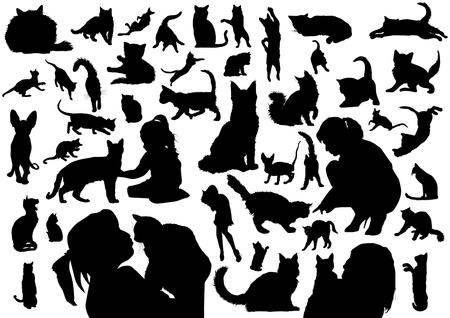Katzen Silhouetten Standard-Bild - 20674765