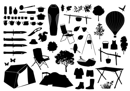 Camping silhouettes Vector