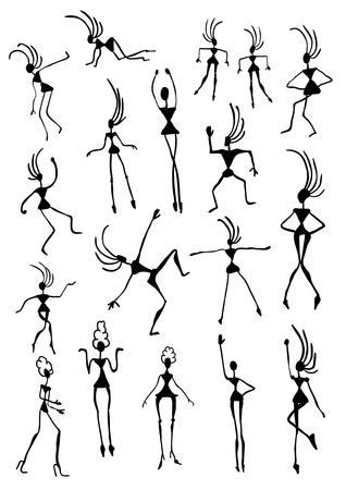 tribal dance: Cartoon Figures