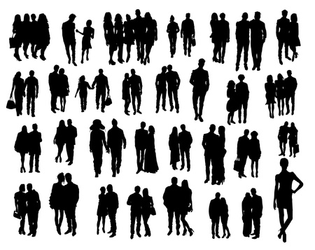 a marriage meeting: Couples silhouettes Illustration