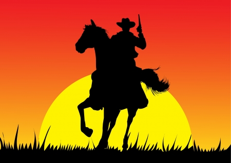Cowboy sylwetka Ilustracje wektorowe