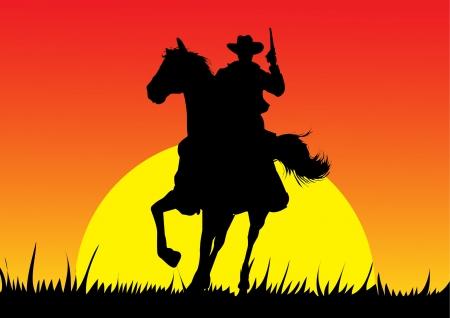 Silhouet van de cowboy Stock Illustratie