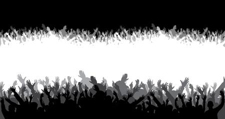 foule mains: silhouette de foule