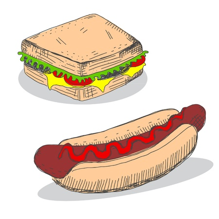 dog pen: Sandwich and hot dog