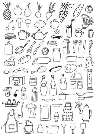 Set of kitchen objects Vector