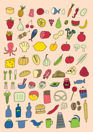 Set of food objects Vector