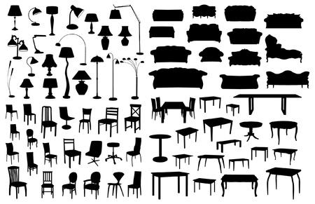 mobilier bureau: Ensemble de silhouettes de meubles Illustration