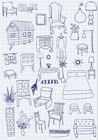 Furniture doodles Vector
