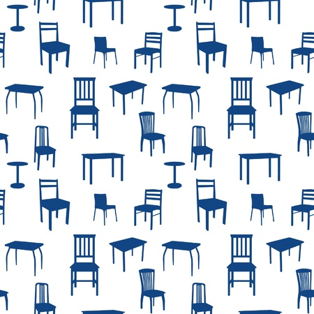 Seamless chairs and tables pattern Vector