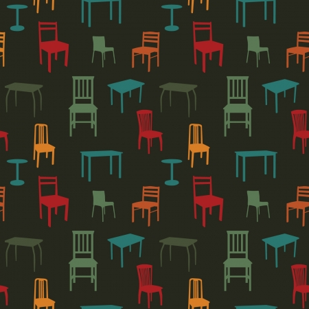 Seamless multicolored chairs and tables pattern