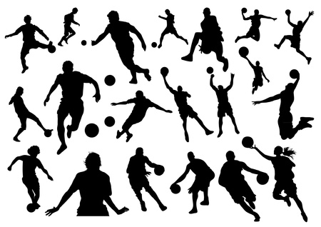physical exercise: Football and Basketball Silhouettes