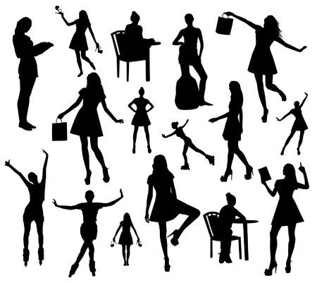 girl pose: Woman silhouettes Illustration