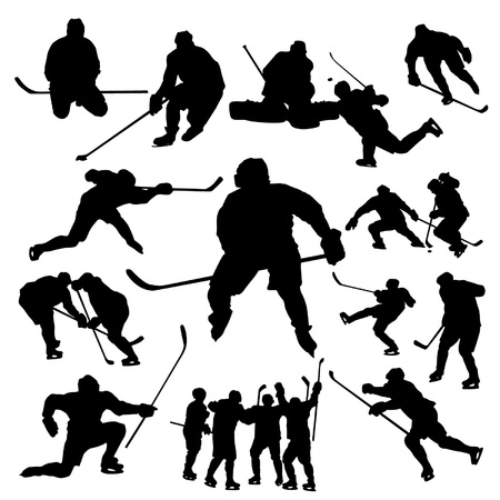 ice hockey player: Hockey players silhouette