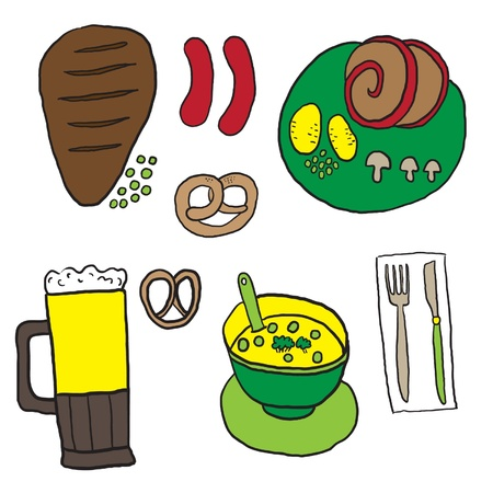 Cartoon food and drink Vector