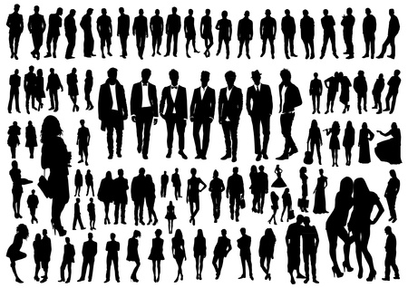 Set of people silhouettes 向量圖像