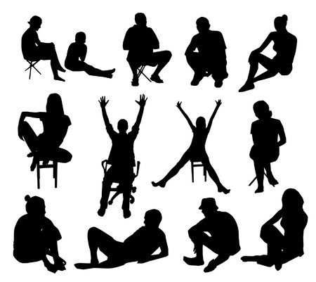 young woman sitting: Set of sitting people silhouettes