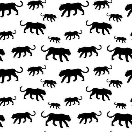 Tiger silhouette seamless pattern Vector