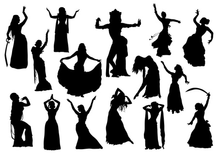 Belly dance silhouettes Stock Vector - 20735145