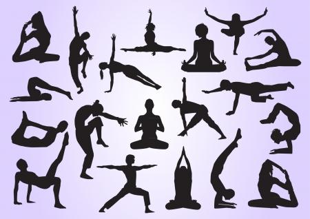 Yoga silhouettes Illusztráció