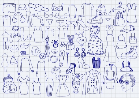 fetishes: Clothes and accessories on paper background