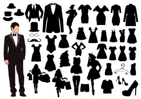 Kleren silhouetten Stock Illustratie