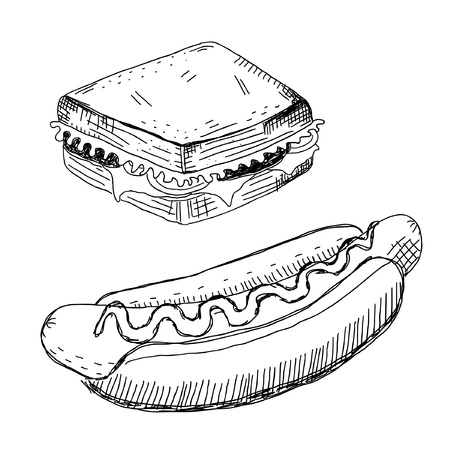 Sandwich and hot dog