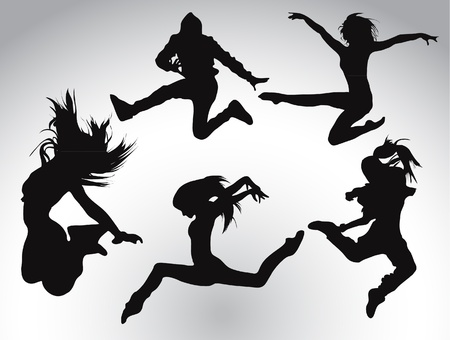Jumping people silhouettes Stock Vector - 20913434