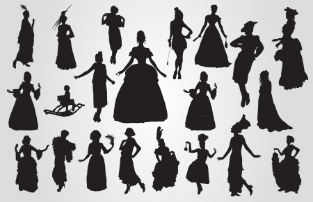 Vintage women silhouettes Stock Vector - 20913457