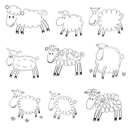 Sheep sketches Vettoriali