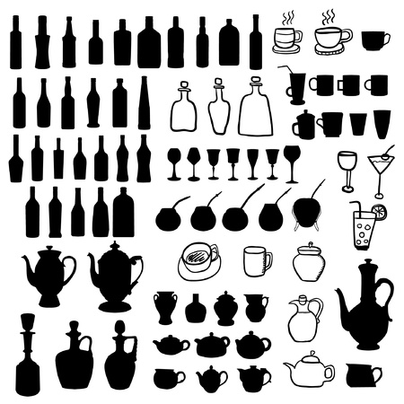 bottle of wine: Vessels set Illustration