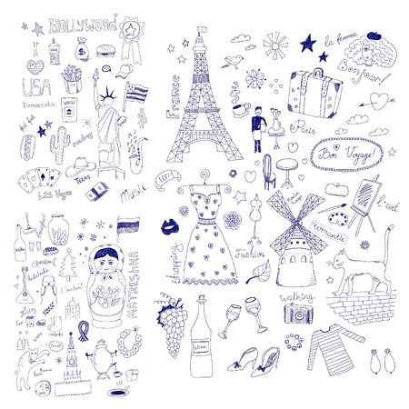 American, Russian and French Symbols Vector